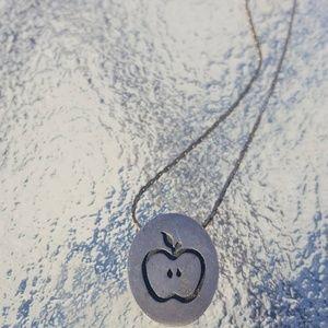Silver apple stencil necklace